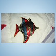 Brightly Colored and Enameled Large Fish Pin Red, Blue, Teal or Turquoise