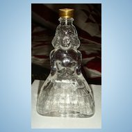 Figural  Lady Glass Perfume Bottle in Long Quilted Southern Belle Type Gown Vintage