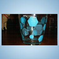 Turquoise Chicken Wire Design Small Glass Sour Cream Container