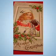 Early 1900's Christmas Postcard Adorable Girl Metal Skates lace Collar, Animal Fur Cap and Muff!