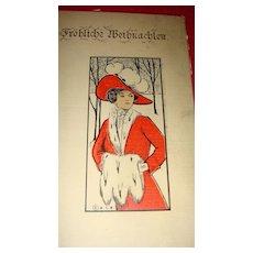 "European ""Frohliche Weihnachten"" Postcard Beautiful Lady in Red With White Fur Muff Collar"