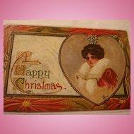 Early Embossed Christmas Postcard Lady in Red, White Fur, Gloves, Heart, Mistletoe, Poinsettia