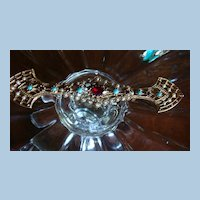 ART Long Victorian, Deco Inspired Arrow Bar Pin, Brooch Faux Turquoise, Seed Pearls Rhinestone'