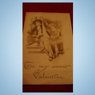 "Adorable Fairy Angels ""To My Sweet Valentine"" Early 1900's Black & White Postcard"