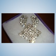 Vintage Weiss Crystal Demi Parure Brooch Earrings 3 Dimensional