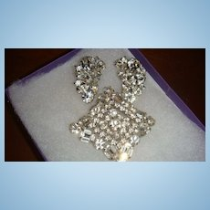 Vintage Weiss Crystal Demi Parure Brooch Earrings 3 Dimensional