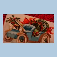 International Art Early German Embossed Christmas Postcard Decorated Blue & Gold Downton Abbey Style Carriage