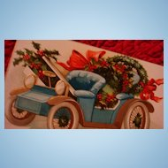International Art Early German Embossed Christmas Postcard Decorated Blue & Gold Downton Abbey Style Carriage Fit for Royalty