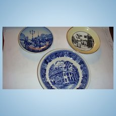 3 Mini Porcelain Plates Wood & Sons, Staffordshire, Adderly, Denmark