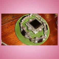 Demi-Parure Monet Art Deco Style Bracelet & Brooch Glass or Enamel & Crystal Rhinestones