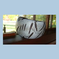 Wide and Chunky Wooden Carved Bangle Bracelet Looks Like Fossil Markings
