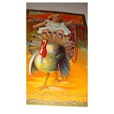 Brightly Colored Unused Thanksgiving Series Early Embossed Postcard Little Girl Drives Wagon Pulled by Turkey!