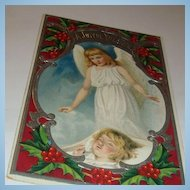 1909 Christmas Postcard Little Guardian Angel Watches Over Rosy Cheek Girl Sleeping Silver Gilding