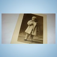 Adorable Little Blond Child in White Fur Coat & Hat Real Photo Postcard