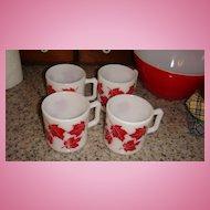Set of 4 Like New Hazel Atlas RED MAPLE LEAF Kiddie Mugs Great for Cider!
