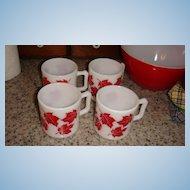Set of 4 Like New Hazel Atlas Red Maple Leaf Kiddie Mugs