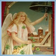 1910 German Embossed Happy New Year Postcard Angel Girl in Bell Tower Rings in New Year With Gold and 4 Leaf Clovers