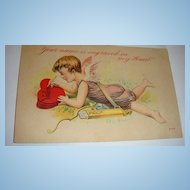 1912 Valentine Postcard Cupid With Bow & Arrows Engraves Hearts