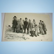 Great Black & White Postcard With Alaskan Eskimos & Husky/Huskie  Puppies Lower Yukon RPP