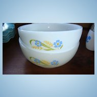 2 Fire King Chili Cereal Bowls Forget Me Not or Blue & Gold