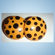 MOD Earrings From the 1980's Large Button Style With Polka-Dots