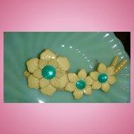 Opalescent Kelly Green Celluloid/Lucite Button, Decoration, Barrette