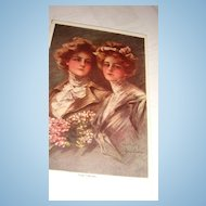 Artist Signed 'The Twins' Lovely Young Ladies Philip Boileau Early 1900's