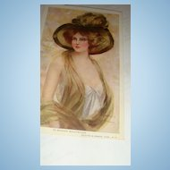 1910 Artist Signed 'In Maiden Meditation' Philip Boileau Beautiful Women Postcards Large Hat Plume