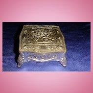 Ornate Vintage Silver Metal Miniature Jewelry Casket Dollhouse JAPAN