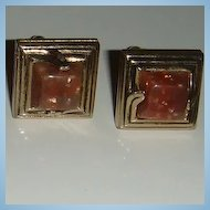 Vintage SWANK Lucite Cufflinks Brown Confetti With Gold
