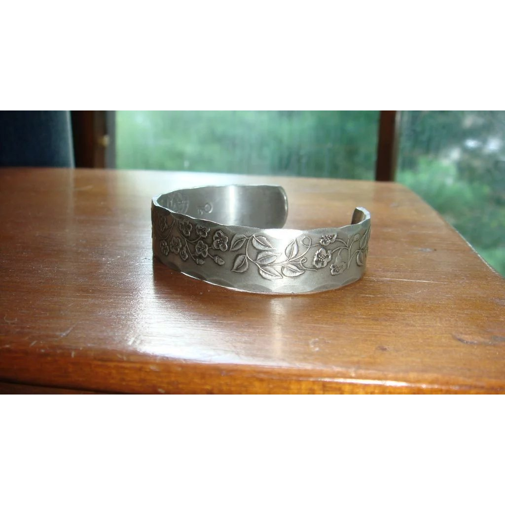 Hand Wrought Pewter Cuff Bracelet With Raised Fl Leaf Designs