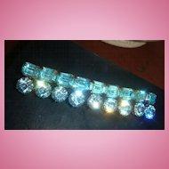 """3"""" Aquamarine or Turquoise Rhinestone Brooch / Pin Round Brilliant & Emerald Cut Stones Designer Quality!!"""