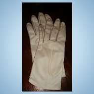 Vintage Embroidered Zigzag Leather Look Nylon Gloves Fownes