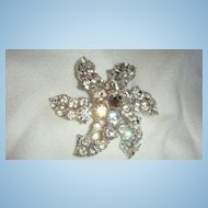Vintage Brilliant Rhinestone Pinwheel Flower Brooch Perfect for Wedding KY Estate