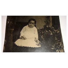 Large Victorian Tin Type 5 x 7  Adorable Baby Tintype