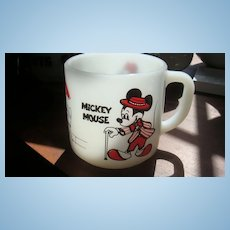 Mickey & Minnie Mouse Mug Walt Disney Milk Glass Federal