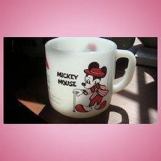 Mickey & Minnie Mouse Mug Walt Disney Milk Glass Federal
