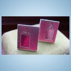 Anson VINTAGE Sterling Silver Cufflinks Brushed & Shiny Fleur de Lis Engravable