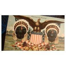 Patriotic Thanksgiving 1908 Signed Postcard American Eagle, Shield, Turkeys, Pumpkins, Flag
