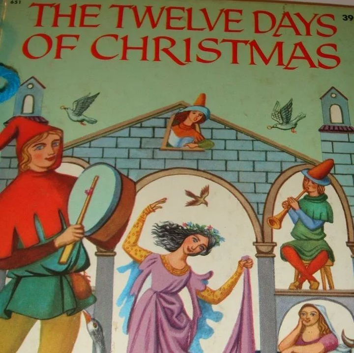 Twelve Days Of Christmas Book.1956 Wonder Books The Twelve Days Of Christmas Washable Cover