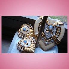 Elizabeth Taylor Avon Heart of Hollywood Brooch & Earrings Faux Opals, Pearls, Rhinestones
