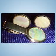 Vintage Mother of Pearl Cufflinks & Tie Clasp, Bar, Clip Set