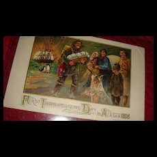 First Thanksgiving Day in Alaska 1868 Embossed Postcard, Indians, Dog, Ship