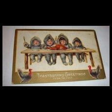 1910 Thanksgiving Postcard North Pole Snow Babies