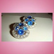 Double Marked BOGOFF Clip Earrings Sapphire Blue & Clear Rhinestones KY Estate