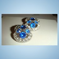 Double Marked BOGOFF Clip Earrings Sapphire Blue & Clear Rhinestones KY Estate