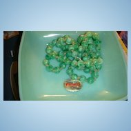 "41"" Vintage Flapper  Necklace Art Glass Beads Skillfully Knotted Jadite Green Peking Glass"