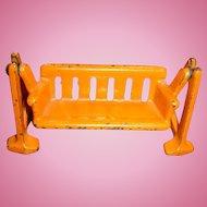 Kilgore Cast Iron Dollhouse Cast Iron Swing Glider 1920's-30's Orange Chippy Paint Toys That Last