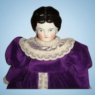 Early Germany China Head Doll  11 1/2 Inch Velvet Lace Dress Satin Pantaloons