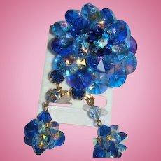 Austrian Crystals Blue Rivoli Aurora Borealis Brooch Dangle Earrings